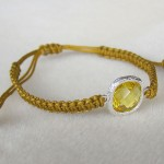 New color / Flat knot bracelet with beautiful yellow crystal