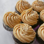 Chocolate cupcake with pumpkin cream cheese frosting