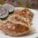 Tuna Gyoza with red pepper