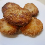 Fried lotus food with tuna (Renkon no hasami age)