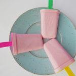 Creamy grenadine syrup ice cream pop