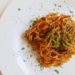 Red belle pepper and mushroom paste for pasta