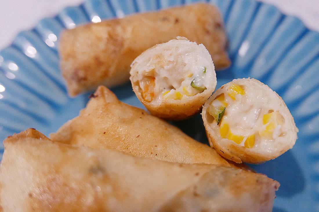 Cream croquettes spring rolls