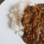 Ground beef and eggplant curry