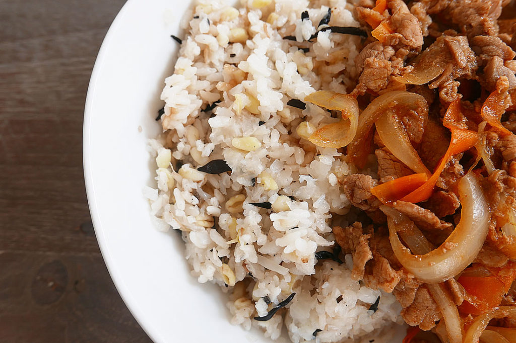 Korean spicy marinated pork with rice