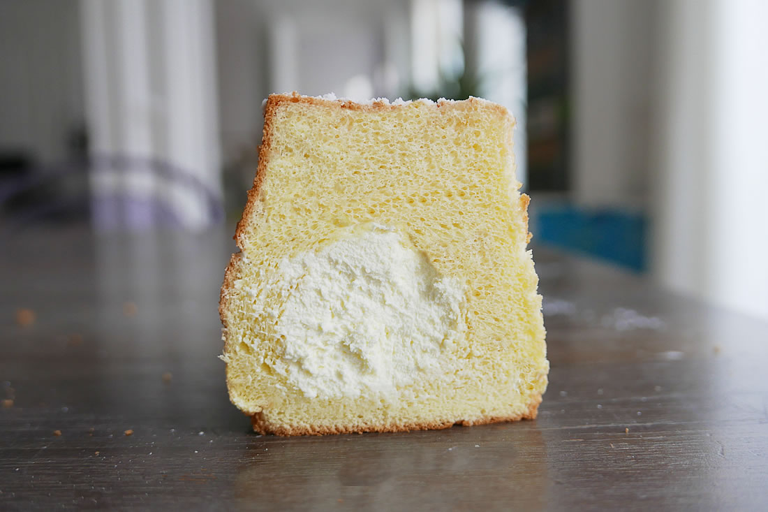 Cream filled fluffy chiffon cake