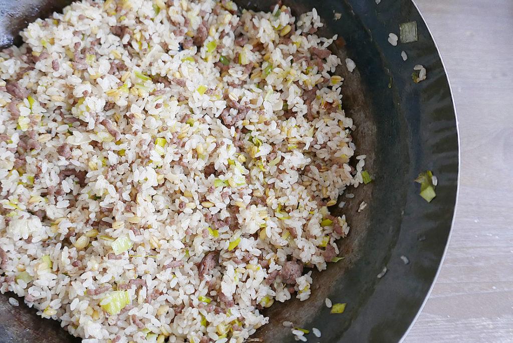 Ground beef garlic fried Rice
