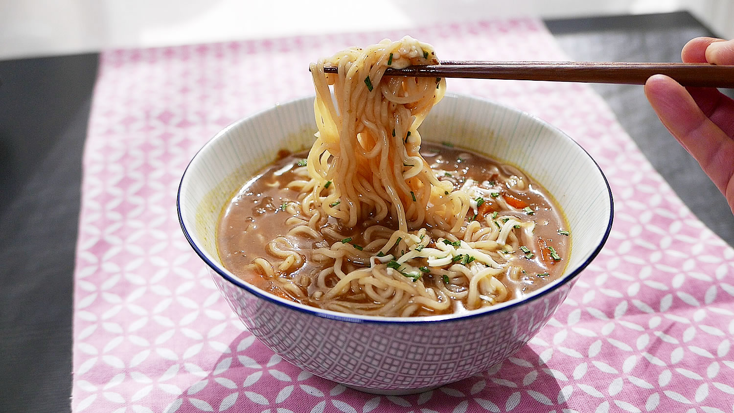 Homemade curry ramen with a pressure cooker